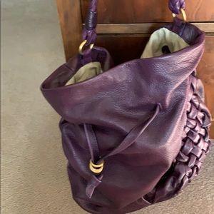 Purple Leather Hobo Purse